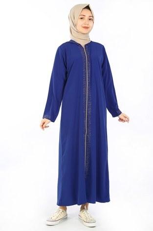 Kapüşonlu Genç Ferace Saks Mavisi 9900-16 - Thumbnail