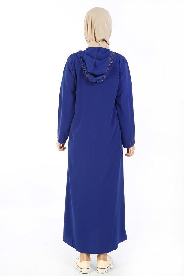 Kapüşonlu Genç Ferace Saks Mavisi 9900-16