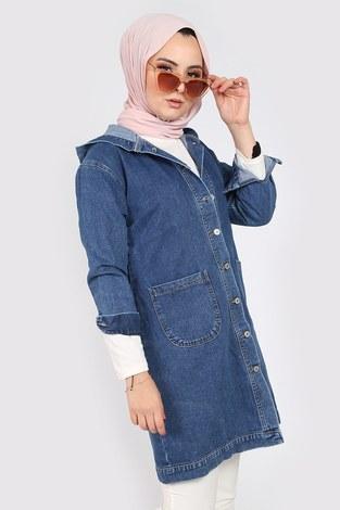 - Kapüşonlu Kot Ceket 40100-1