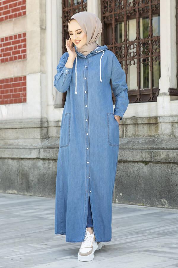Kapüşonlu Kot Elbise Ferace 5415-1 Mavi