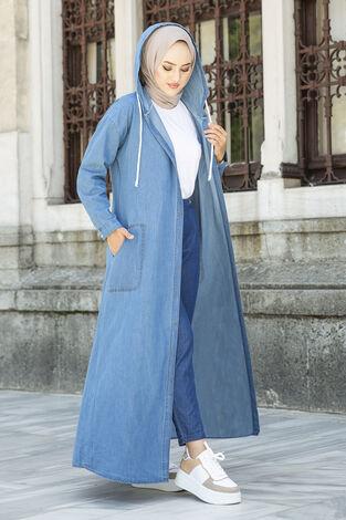 Kapüşonlu Kot Elbise Ferace 5415-1 Mavi - Thumbnail