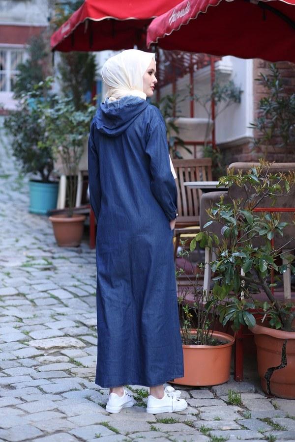 Kapüşonlu Kot Elbise Ferace 5415-2