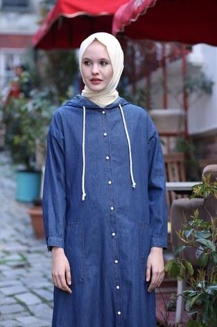 - Kapüşonlu Kot Elbise Ferace 5415-2 (1)