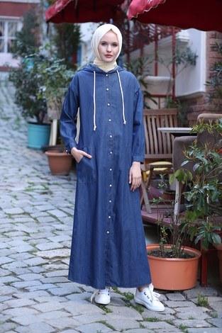 - Kapüşonlu Kot Elbise Ferace 5415-2