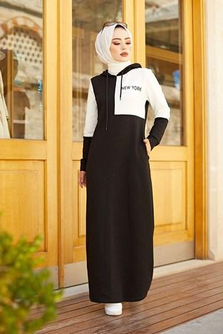 - Kapüşonlu Spor Elbise 8845-1 Siyah