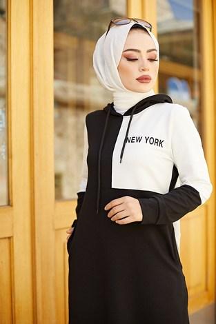 - Kapüşonlu Spor Elbise 8845-1 Siyah (1)