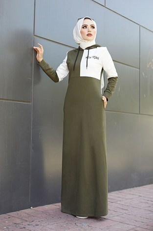 - Kapüşonlu Spor Elbise 8845-2 Haki