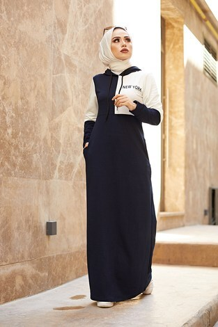 - Kapüşonlu Spor Elbise 8845-3 Lacivert