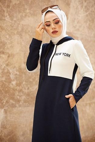 - Kapüşonlu Spor Elbise 8845-3 Lacivert (1)