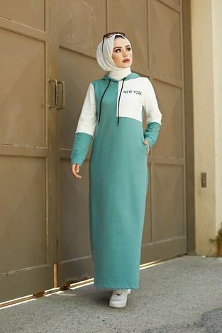 - Kapüşonlu Spor Elbise 8845-4 Mint