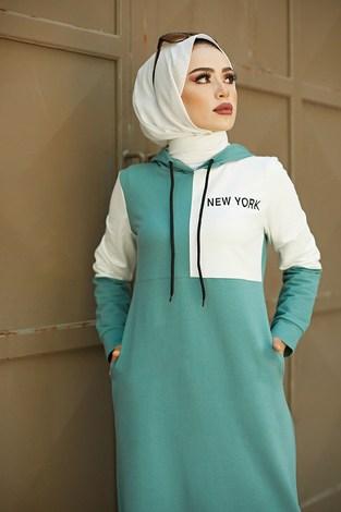 - Kapüşonlu Spor Elbise 8845-4 Mint (1)