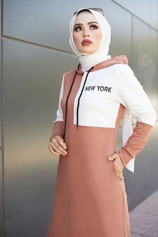 - Kapüşonlu Spor Elbise 8845-5 Somon (1)