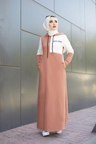 - Kapüşonlu Spor Elbise 8845-5 Somon