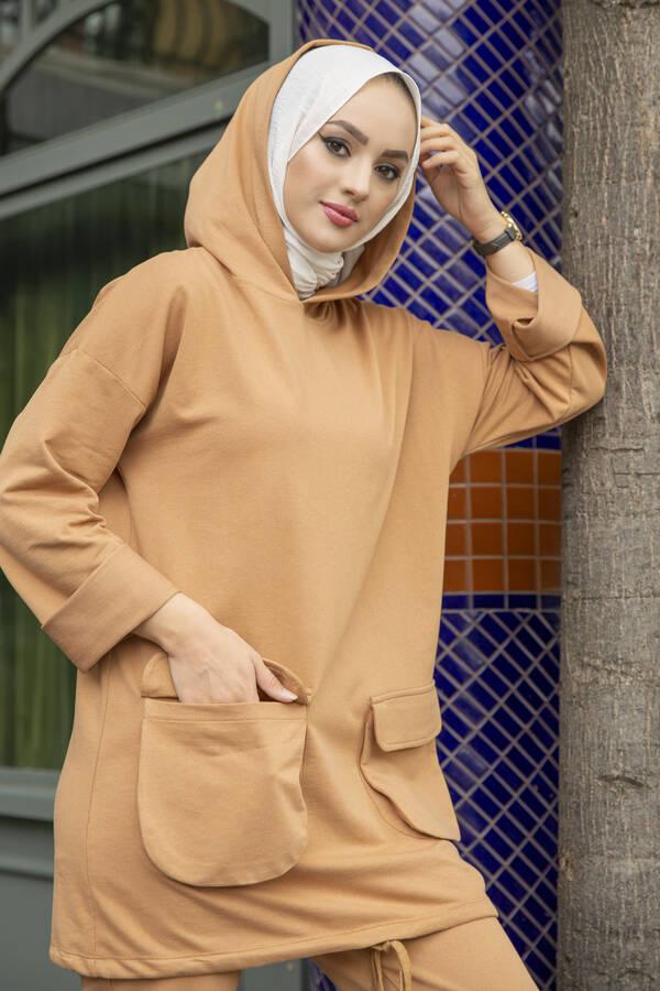 Kapüşonlu Tesettür İkili Takım Camel