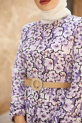 - Karanfil Desenli Elbise 17652-4 Lila (1)