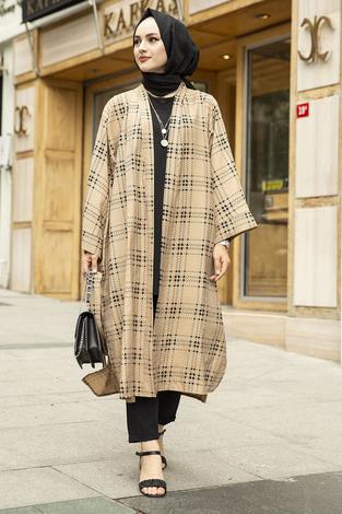 Kare Desenli Kimono 100MD-10417 Bej - Thumbnail