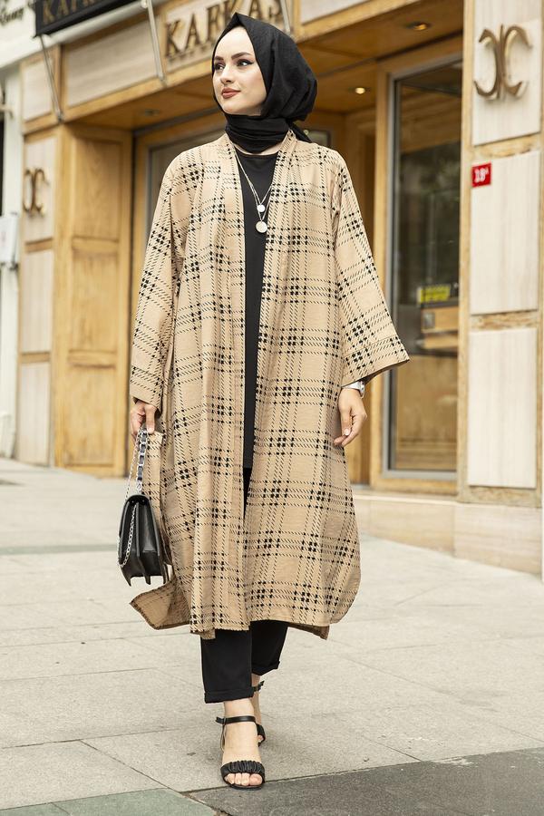 Kare Desenli Kimono 100MD-10417 Bej