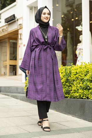 Kare Desenli Kimono 100MD-10417 Mor - Thumbnail