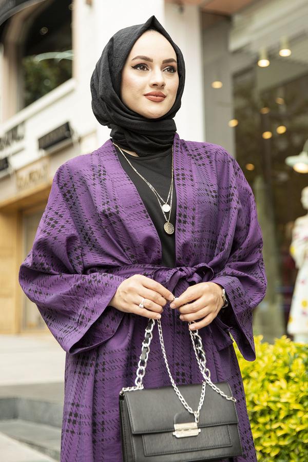 Kare Desenli Kimono 100MD-10417 Mor