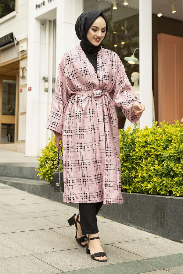 Kare Desenli Kimono 100MD-10417 Pembe