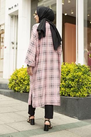 Kare Desenli Kimono 100MD-10417 Pembe - Thumbnail