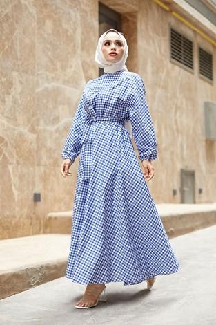 - Kareli Mevlana Elbise 8978-5 Mavi