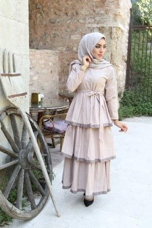 - Katlı Tarz Elbise 5968-2