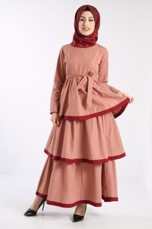Katlı Tarz Elbise 5968-4 - Thumbnail