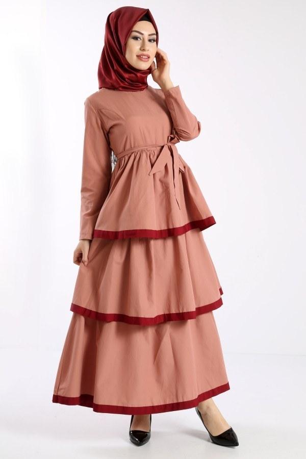 Katlı Tarz Elbise 5968-4
