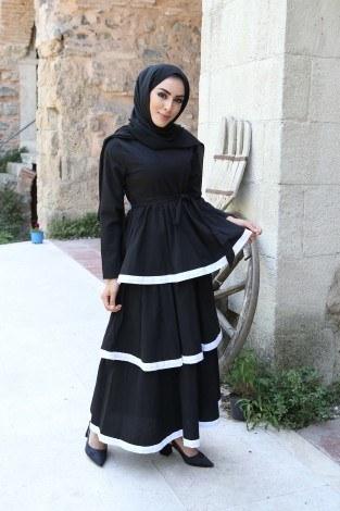 - Katlı Tarz Elbise 5968-1