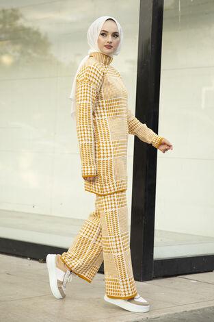 Kazayağı Desenli Triko İkili Takım Sarı - Thumbnail