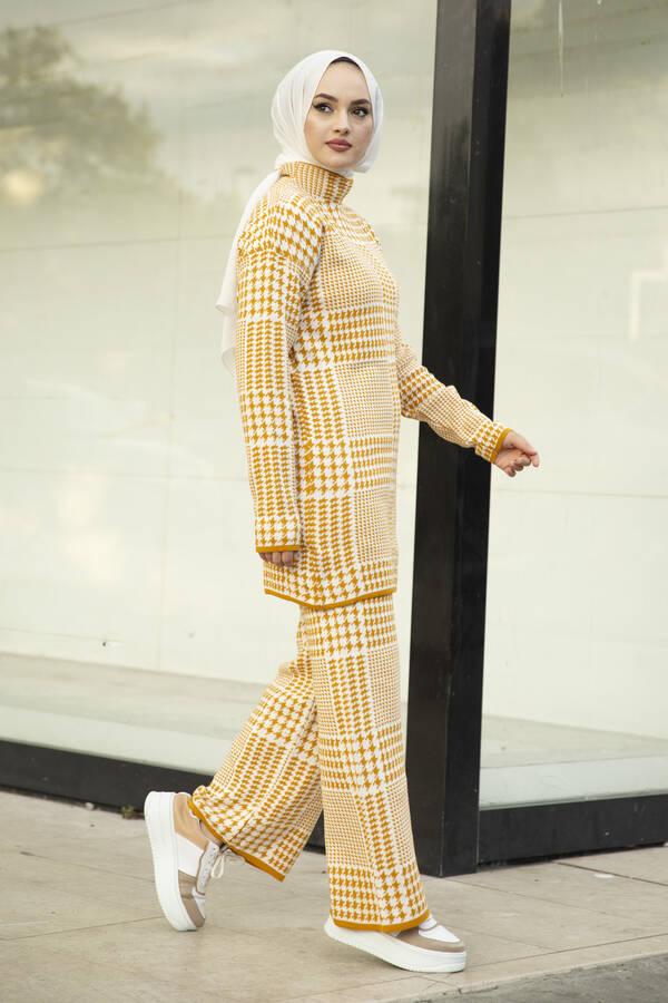 Kazayağı Desenli Triko İkili Takım Sarı