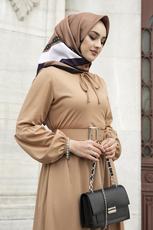 Kemerli Balon Kol Elbise 565EN-4438 Camel
