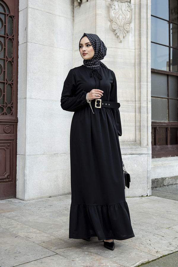 Kemerli Balon Kol Elbise 565EN-4438 Siyah