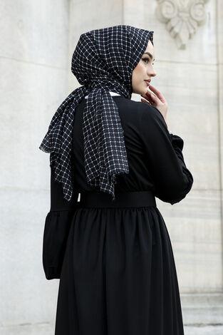 Kemerli Balon Kol Elbise 565EN-4438 Siyah - Thumbnail