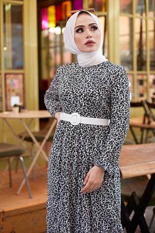 - Kemerli Çiçek Desen Elbise 9457-1 Siyah (1)