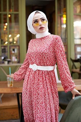 - Kemerli Çiçek Desen Elbise 9457-2 Kırmızı (1)