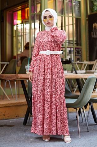 - Kemerli Çiçek Desen Elbise 9457-2 Kırmızı