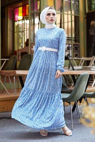 - Kemerli Çiçek Desen Elbise 9457-3 Mavi