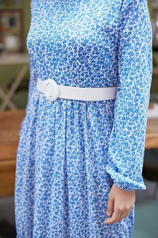 - Kemerli Çiçek Desen Elbise 9457-3 Mavi (1)
