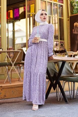 - Kemerli Çiçek Desen Elbise 9457-4 Lila
