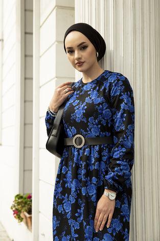 Deri Kemerli Desenli Elbise 120NY-9820 Saks - Thumbnail