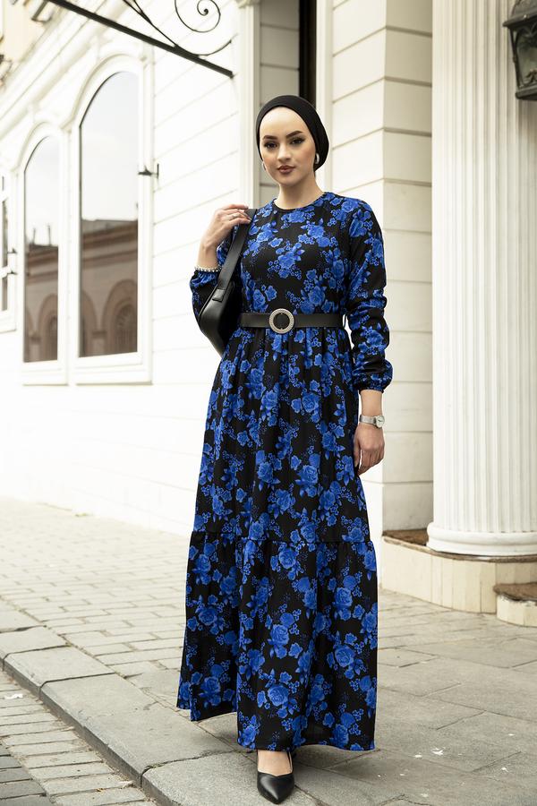 Deri Kemerli Desenli Elbise 120NY-9820 Saks