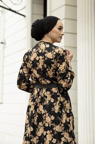 Deri Kemerli Desenli Elbise 120NY-9820 Vizon - Thumbnail