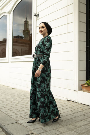 Deri Kemerli Desenli Elbise 120NY-9820 Zümrüt - Thumbnail