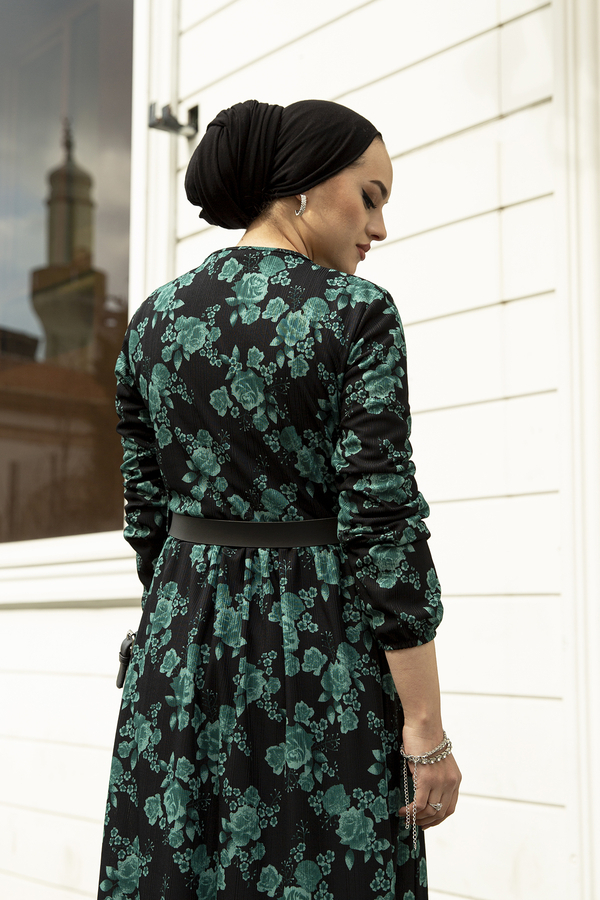 Deri Kemerli Desenli Elbise 120NY-9820 Zümrüt