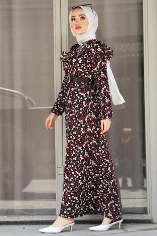 - Kemerli Desenli Elbise 17638-2 Bordo