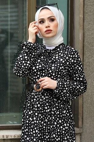 - Kemerli Desenli Elbise 17638-3 Beyaz (1)