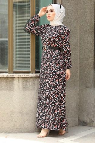 - Kemerli Desenli Elbise 17638-4 Gül Korusu