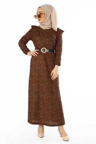 - Kemerli Elbise 1588-16 Taba
